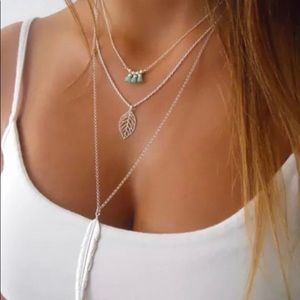 Jewelry - 💗 Sexy 3 layer feather necklace with extender